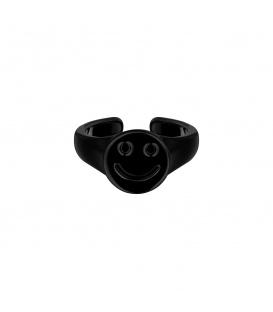 Zwarte Candy Ring met een smiley gezicht
