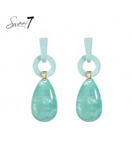 Blauwe oorbellen met 2 verschillende hangers