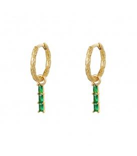 Goudkleurige oorbellen met als hanger 3 groene strass steentjes