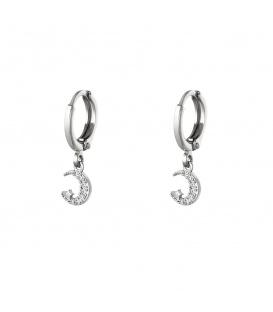 Zilverkleurige oorbellen met een halve maan en een ster