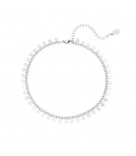 Zilverkleurig enkelbandje met cirkeltjes