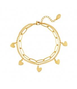 Goudgekleurde schakelarmband met hartvormige hartjes