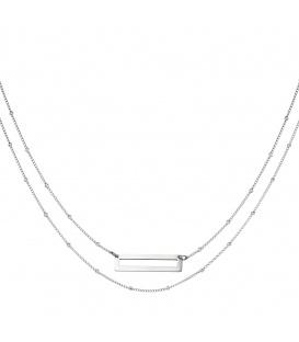 Zilverkleurige dubbele halsketting met een rechthoek hanger