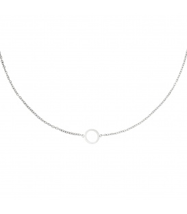 Zilverkleurige halsketting met een open cirkel