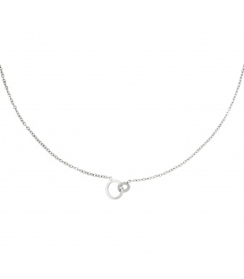 Zilverkleurige halsketting met verbonden cirkels