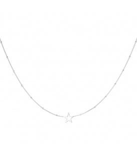 Zilverkleurige halsketting met een open ster