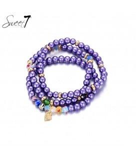 3 strengs armbanden van paarse murano glaskralen