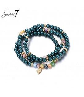 Gekleurde kralen armband van Murano glaskralen.