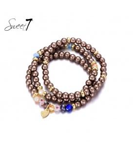 Bruin gekleurde kralen armband van Murano glaskralen.