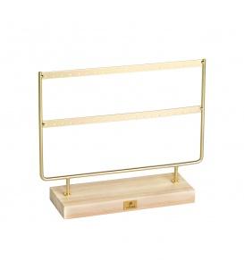 Goudgekleurde kleine displayrek dat ruimte biedt voor 40 oorbellen (20 paar)