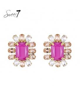 Roze vierkante oorbellen met steentjes rondom