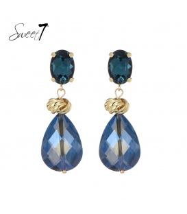 Blauwe glaskralen oorhangers met een goudkleurige knoop