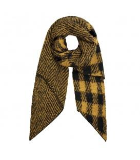 Gele geruite sjaal en met zigzagpatroon