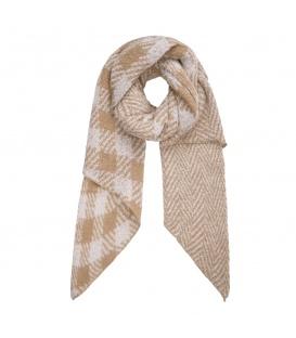 Beige geruite sjaal en met zigzagpatroon