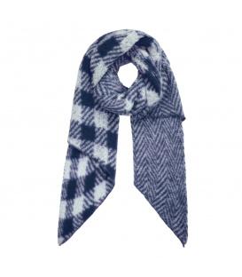 Blauwe geruite sjaal en met zigzagpatroon