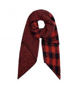 Rode geruite sjaal en met zigzagpatroon