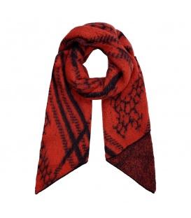 Rode wintersjaal met een uniek patroon