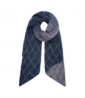 Donkerblauwe wintersjaal met een ruitpatroon