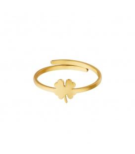Goudkleurige ring met een klaver