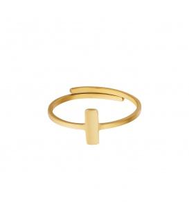 Goudkleurige ring met een kleine rechthoek
