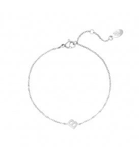 Zilverkleurige armband met initiaal B