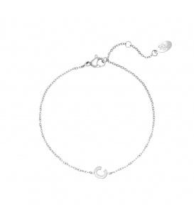 Zilverkleurige armband met initiaal C