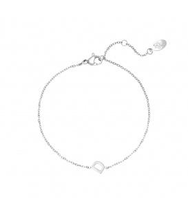 Zilverkleurige armband met initiaal D