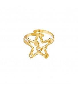 Goudkleurige ring in ster vorm met zirkoonsteentjes