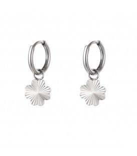 Zilverkleurige oorbellen met klaver hanger