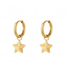 Goudkleurige oorbellen met ster hanger