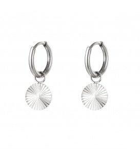 Zilverkleurige oorbellen met cirkel hanger