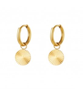 Goudkleurige oorbellen met cirkel hanger