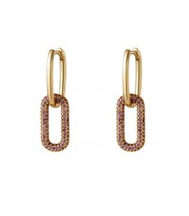 Goudkleurige oorhangers met paarse zirkoonsteentjes in de hanger klein
