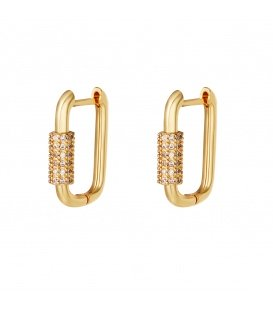 Goudkleurige vergulde oorbellen met zirkonia steentjes