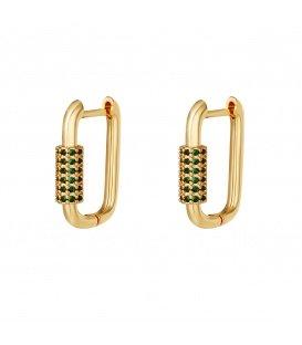 Goudkleurige vergulde oorbellen met groene zirkonia steentjes