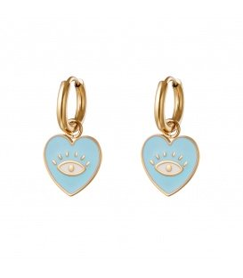 Goudkleurige oorringen met een blauwe hanger in hartvorm met oog