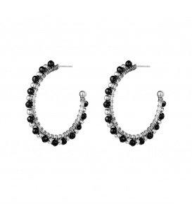 Zilverkleurige met zwarte kralen oorbellen