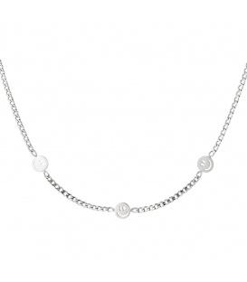 Zilverkleurige halsketting in kettingstijl met drie smiley bedels