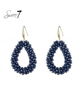 Blauwe ovale oorhangers van glaskralen