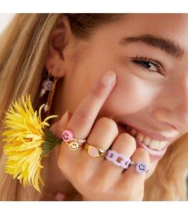 Zilverkleurige ring met een smiley