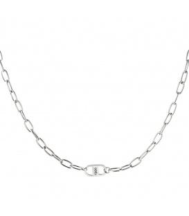 Zilverkleurige halsketting met in elkaar grijpende kettingen en balletjes