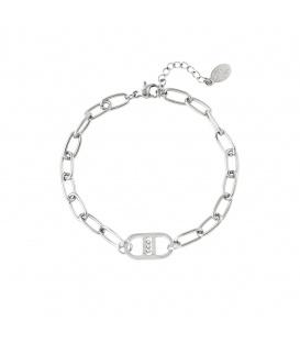Zilverkleurige armband met in elkaar grijpende kettingen en balletjes
