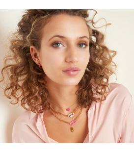 Goudkleurige halsketting met een paars slot