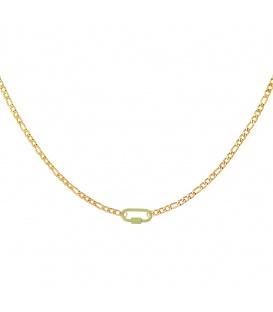Goudkleurige halsketting met een groen slot