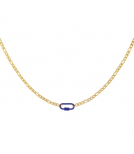 Goudkleurige halsketting met een blauw slot