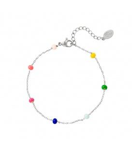 Zilverkleurige armband met gekleurde kralen