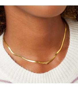 Goudkleurige halsketting met een klein bloemetje en zirkoonsteentje