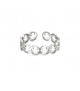 Zilverkleurige verstelbare ring van een rij smileys