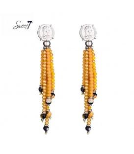 Oranje agate kralen oorhangers met een zilverkleurig oor stukje