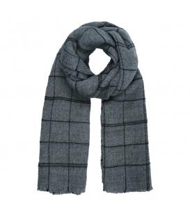 Grijze geruite sjaal met dunne zwarte strepen